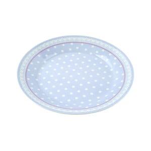 Porcelánový talíř Dots, modrý 4 ks