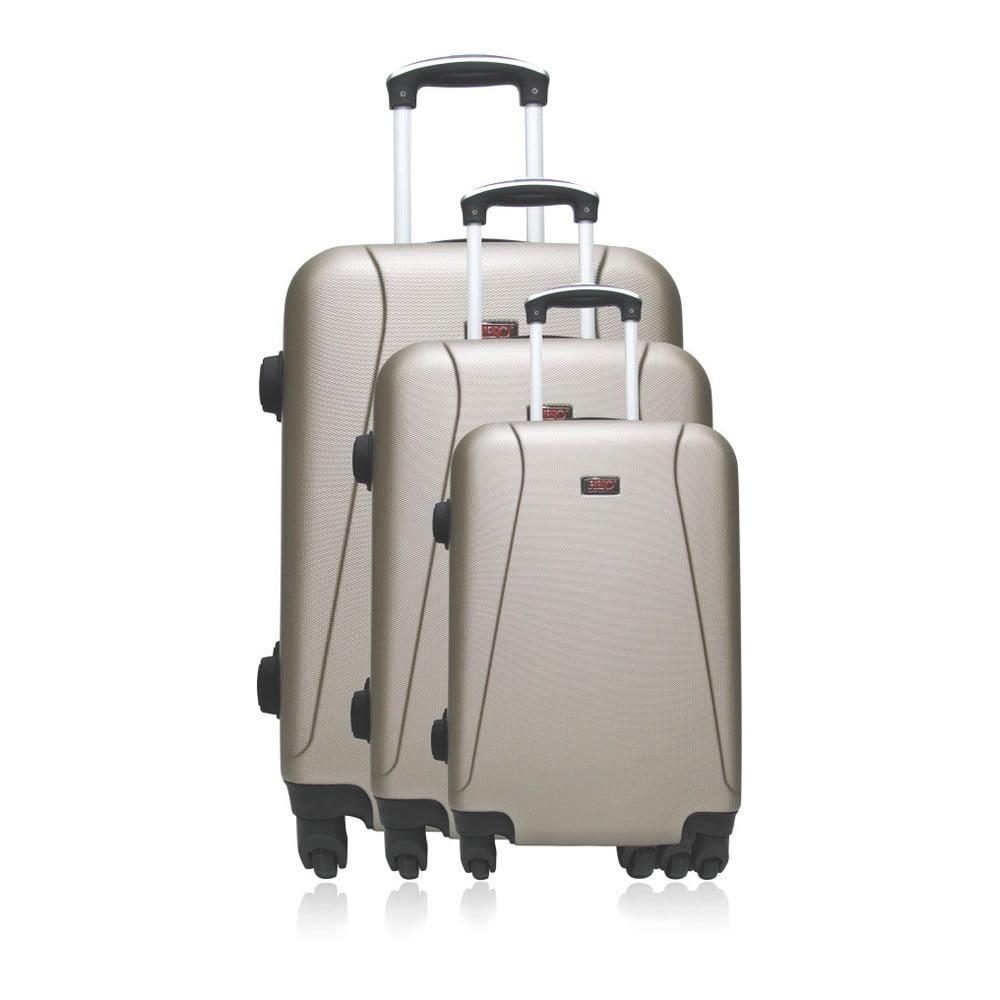 Sada 3 béžových cestovních kufrů na kolečkách Hero Jackson