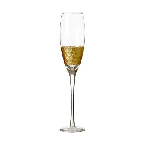 Sada 4 pohárov na šampanské z ručne fúkaného skla Premier Housewares Deco, 2,1 dl