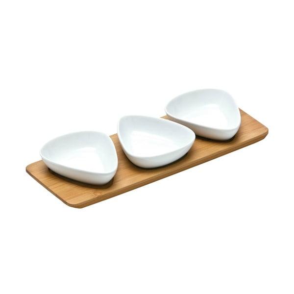 Sada 3 servírovacích misek na bambusovém tácku Premier Housewares Trio Snacks