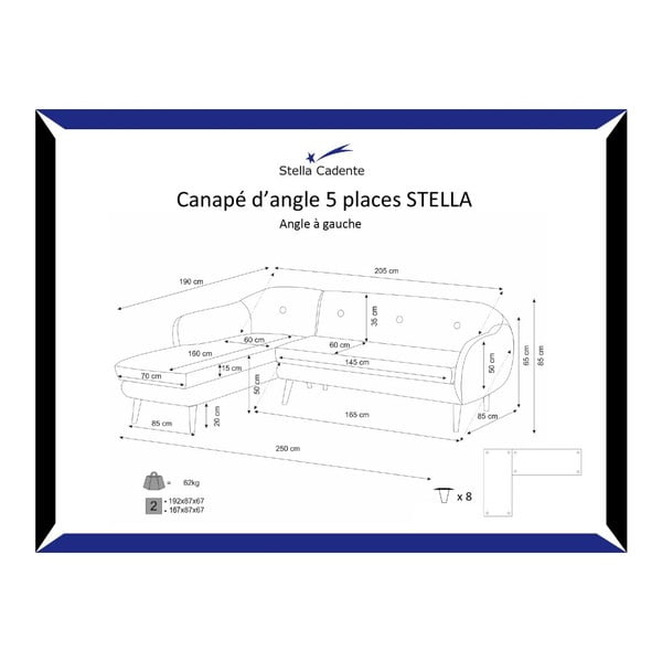 Tyrkysově modrá trojmístná pohovka Scandi by Stella Cadente Maison, levý roh