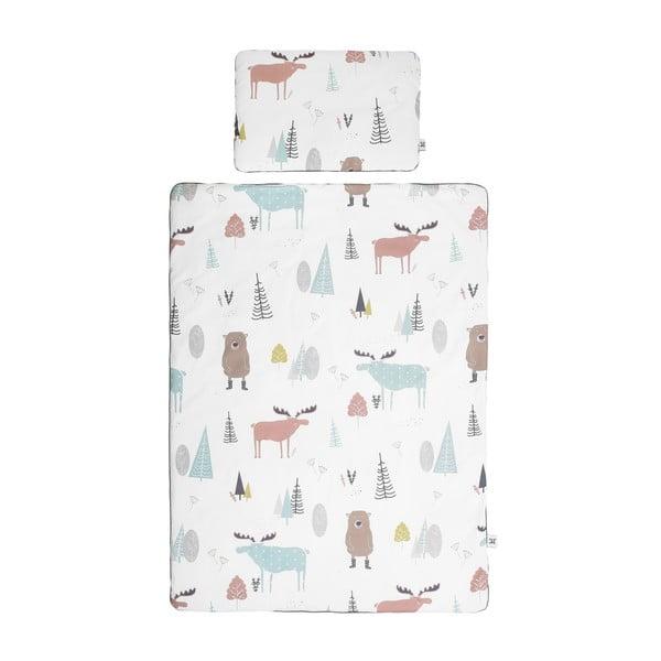 Set păturică matlasată din bumbac și pernă pentru copii BELLAMY In the Wood, 80 x 100 cm