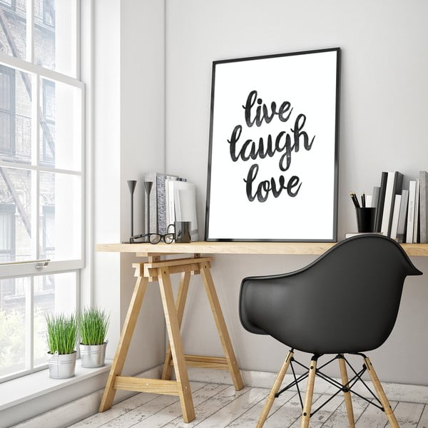 Plakát v dřevěném rámu Live laugh love, 38x28 cm