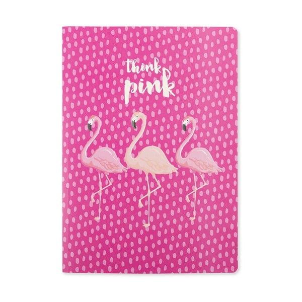 Růžový zápisník GO Stationery Think Flamingo