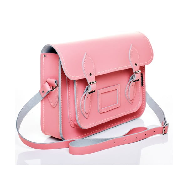 Kožená kabelka Satchel 29 cm, pastelově růžová