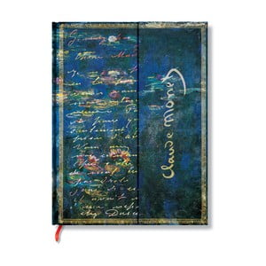 Caiet cu copertă tare Paperblanks Water Lillies, 18 x 22 cm