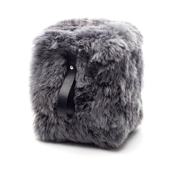 Šedo-černý hranatý puf z ovčí vlny Royal Dream