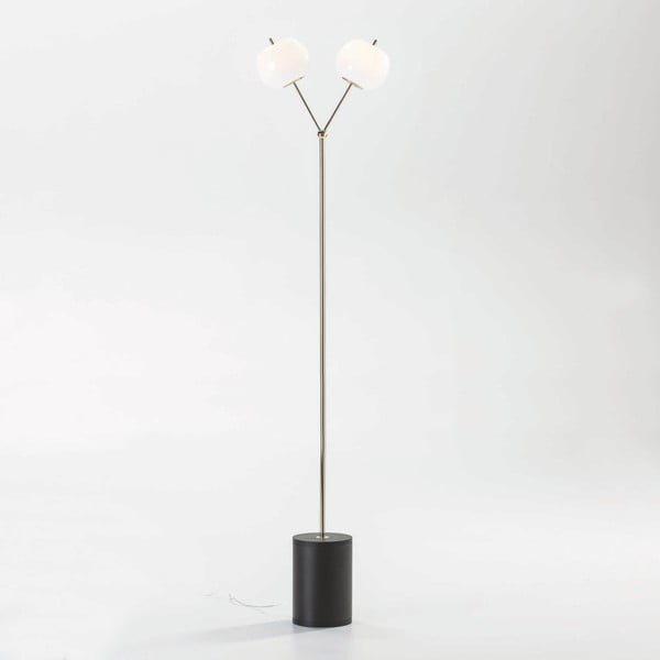 Volně stojící lampa z kovu v černo-béžovém provedení Thai Natura Cozy