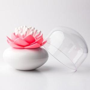 Růžovo-bílý stojánek na vatové tyčinky Qualy&CO Lotus Cotton Bud