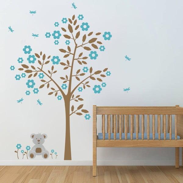Samolepka na stěnu Strom a medvídek, modrá - 2 archy, 70x50 cm