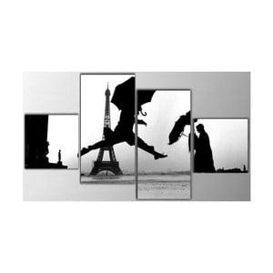 4dílný obraz Black Eiffel, 50x100 cm