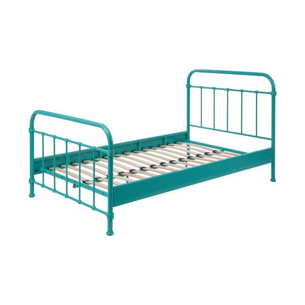 Mätovozelená kovová detská posteľ Vipack New York, 120×200 cm