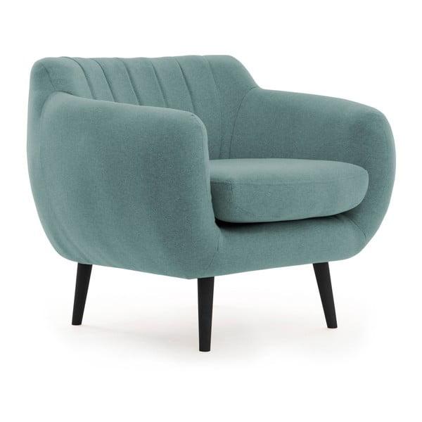 Niebiesko-szary fotel z czarnymi nogami Vivonita Kennet