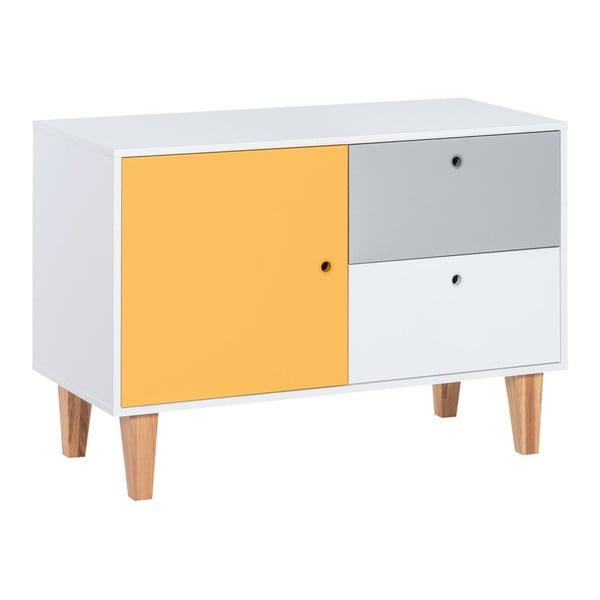 Komoda se žlutými dvířky z dubového dřeva Vox Concept
