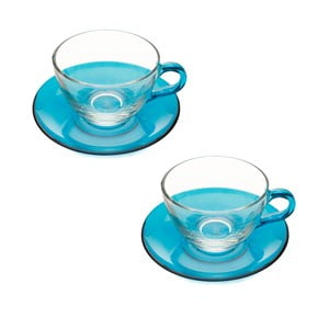 Šálek s podšálkem, 2ks, modrý