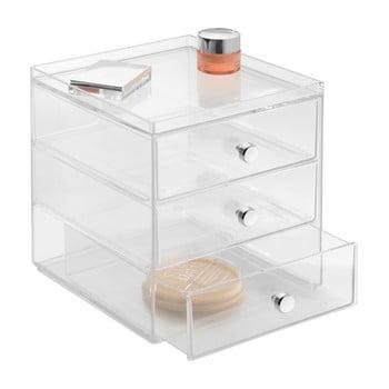 Organizator transparent cu 3 sertare iDesign Drawers, înălțime 18 cm
