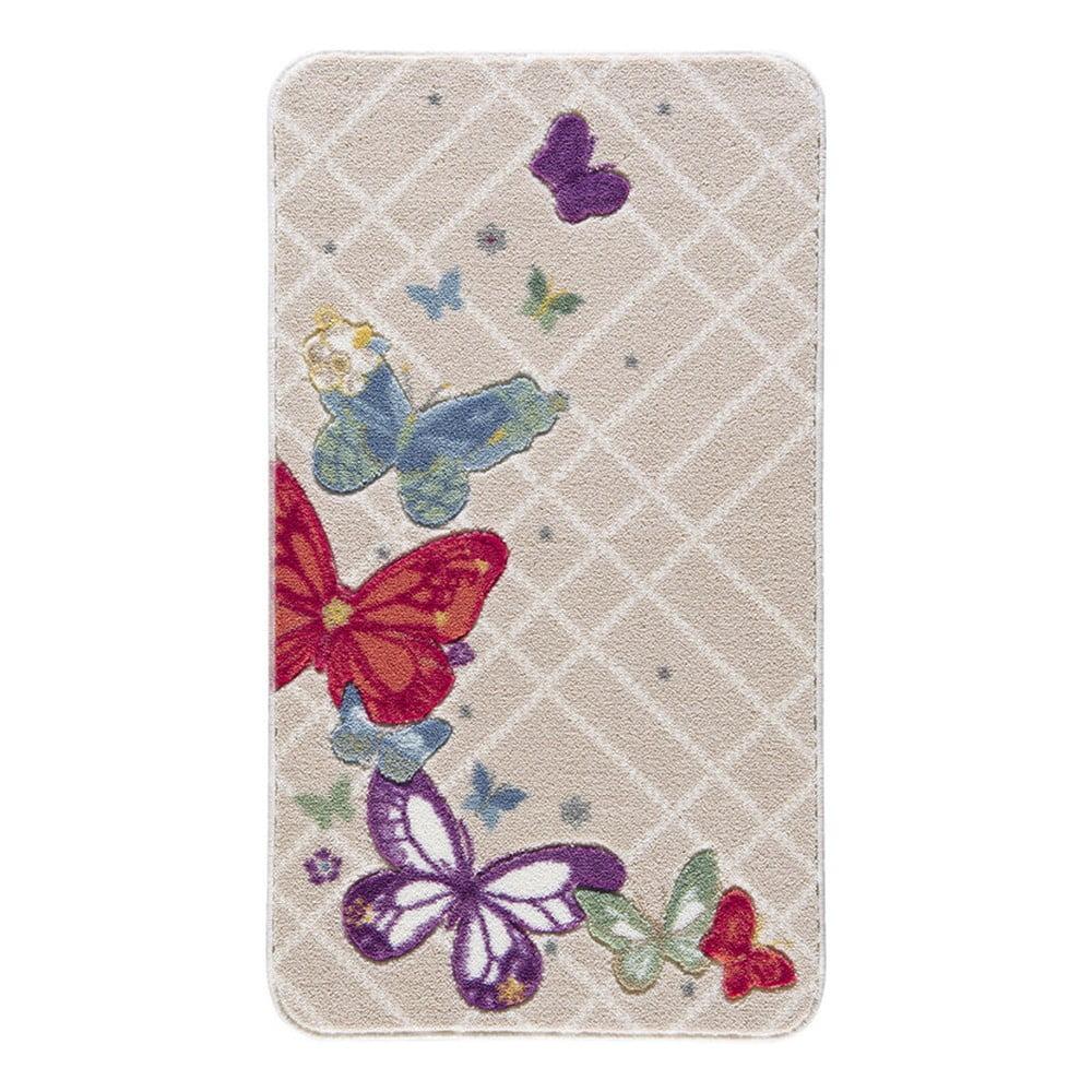 Vzorovaná béžová předložka do koupelny Confetti Butterfly, 80 x 140 cm