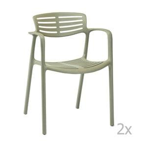 Sada 4 zelených zahradních židlí s područkami Resol Toledo Aire