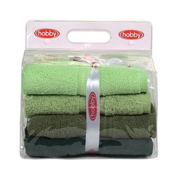 Sada 4 zelených bavlněných ručníků Rainbow,50x90cm