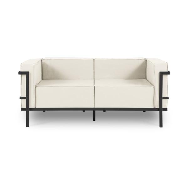 Canapea cu două locuri, adecvată pentru exterior Calme Jardin Cannes, bej - negru