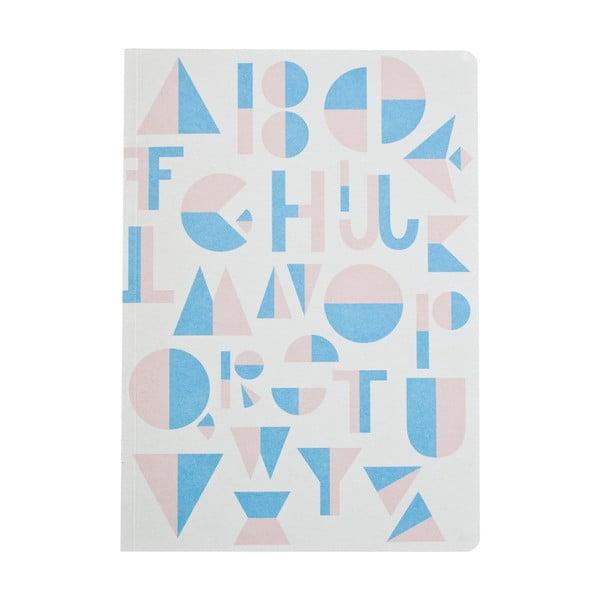 Světle modrý zápisník Michelle Carlslund Alphabet