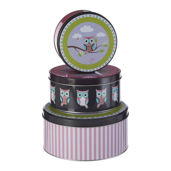 Set 3 cutii depozitare din tablă Premier Housewares Happy Owls
