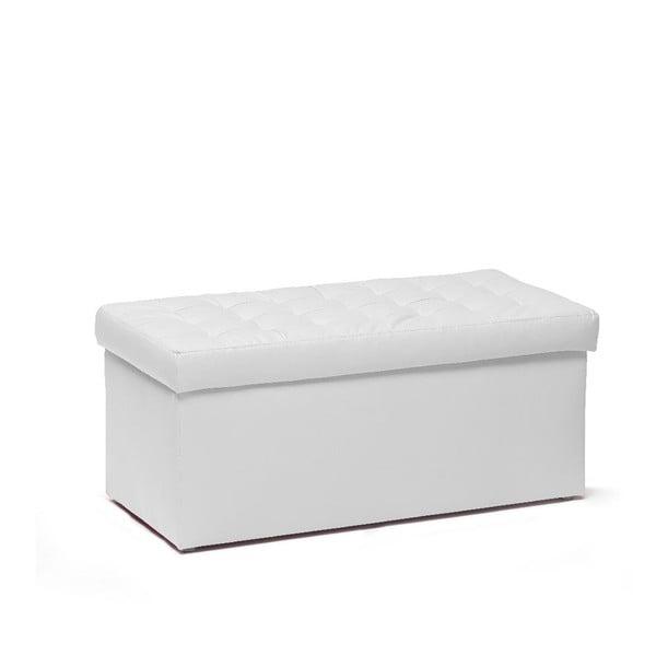 Taburet s úložným prostorem Silvia 90 cm, bílý