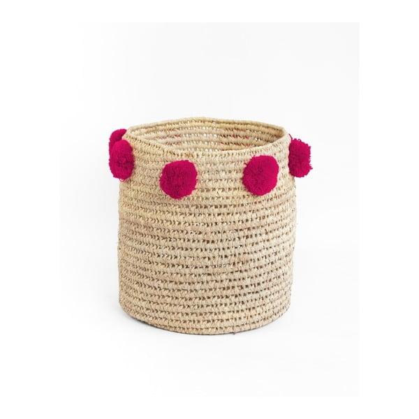 Sada 2 úložných košíků z palmových vláken s tmavě růžovými a žlutými dekoracemi Madre Selva Milo Basket