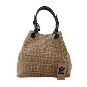 Béžová kožená kabelka Chicca Borse Tessa