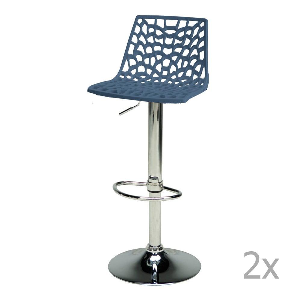Sada 2 modrých nastavitelných barových židlí Castagnetti Gass