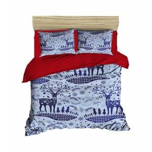 Lenjerie de pat cu cearșaf Christmas Winter, 200 x 220 cm