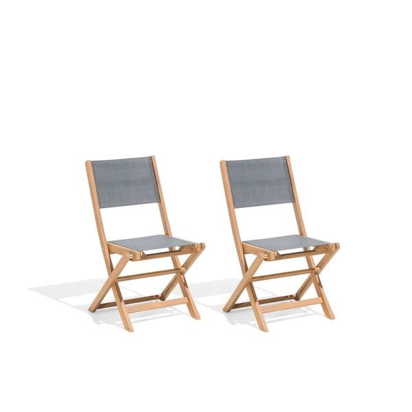 Zestaw 2 składanych krzeseł ogrodowych z drewna akacjowego Monobeli Bibione