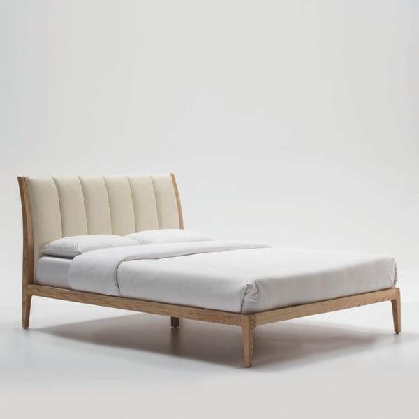 Béžováá postel z jasanového dřeva Thai Natura Comfy, 150 x 190 cm