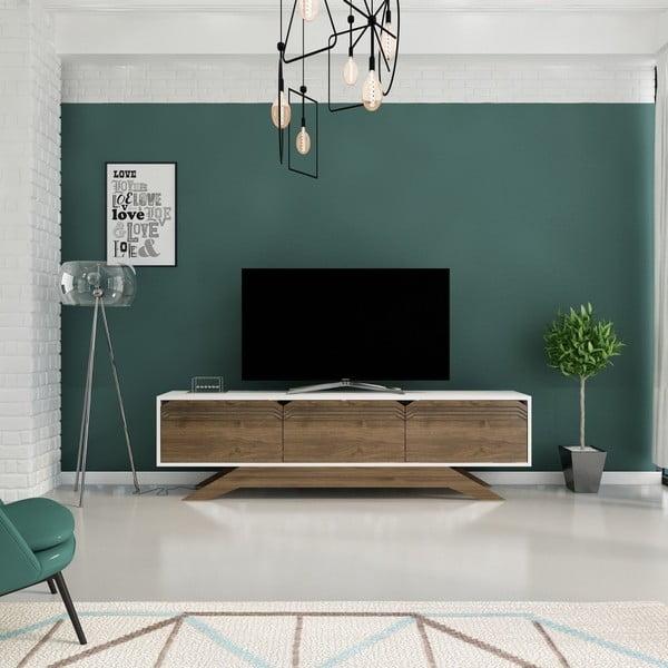 TV stolek v dekoru ořechového dřeva s bílými detaily Piyar White Walnut