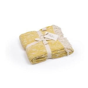 Tmavě žlutý přehoz z bavlny, 130 x 170 cm