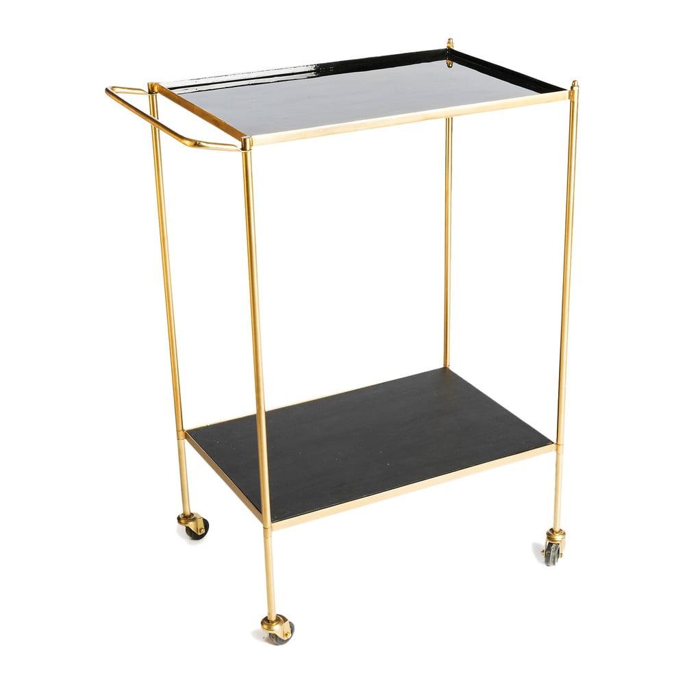 Servírovací stolek s kovovou konstrukcí ve zlaté barvě Simla Wheel