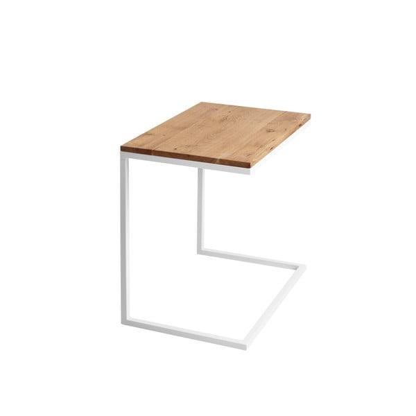 Stůl s bílým podnožím a deskou z masivního dubu Custom Form Lupe