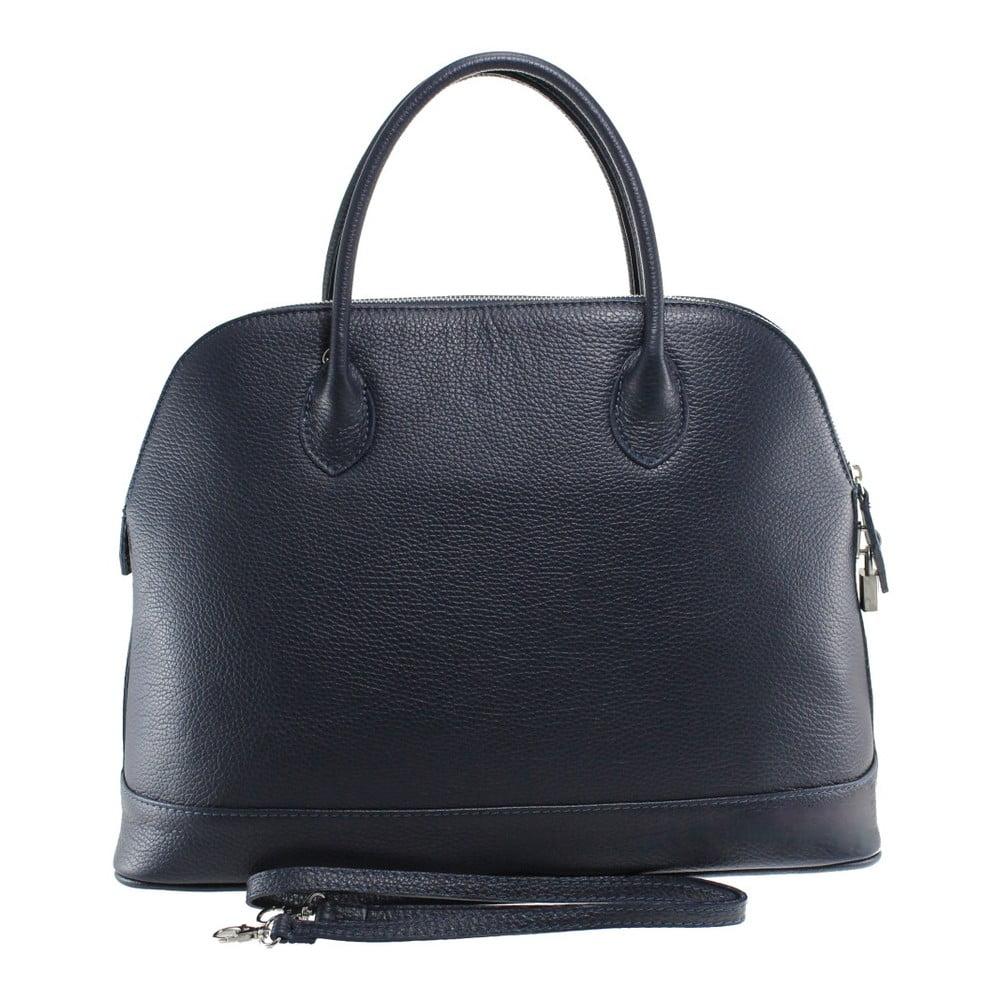 Tmavě modrá kožená kabelka Chicca Borse Griot