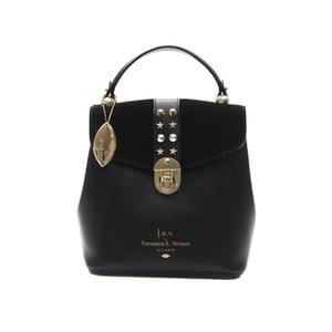 Černý kožený dámský batoh f.e.v. by Francesca E. Versace Rismo