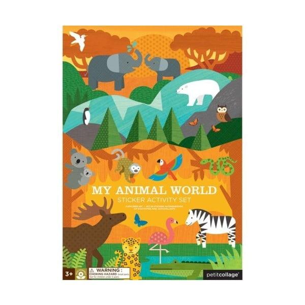 Animal World összehajtható tábla újrahasznosított papírból, növényi festékkel - Petit collage