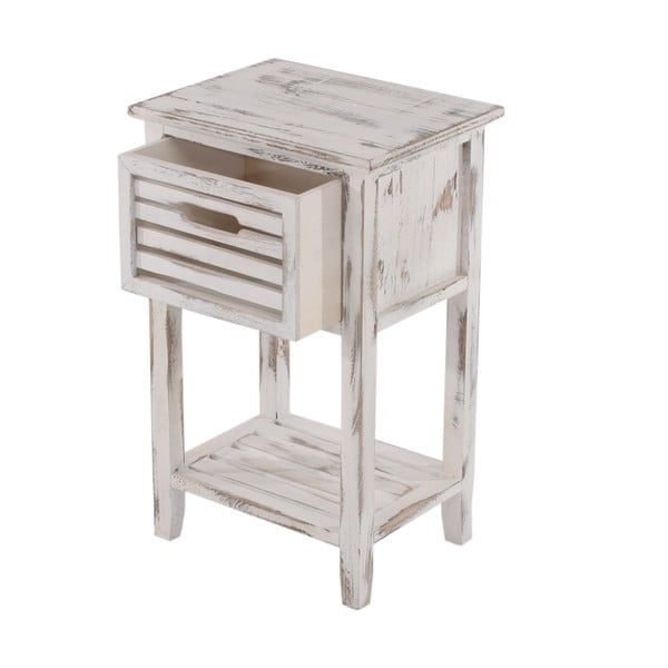 Bílý dřevěný noční stolek na nožičkách Mendler Shabby