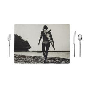 Černobílé prostírání Home de Bleu Tropical Surf, 35x49cm