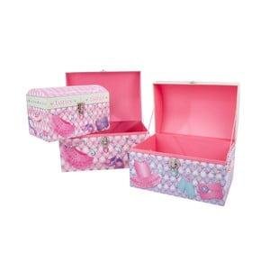 Sada 3 úložných krabic Princess