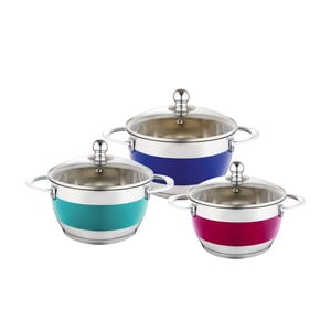 Set 3 cratițe cu capac Krauff Cook, multicolor