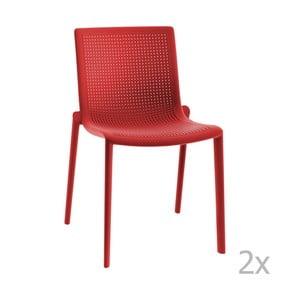 Sada 2 červených zahradních židlí Resol Beekat