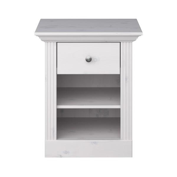 Biely nočný stolík z borovicového dreva s bielou doskou Steens Monaco