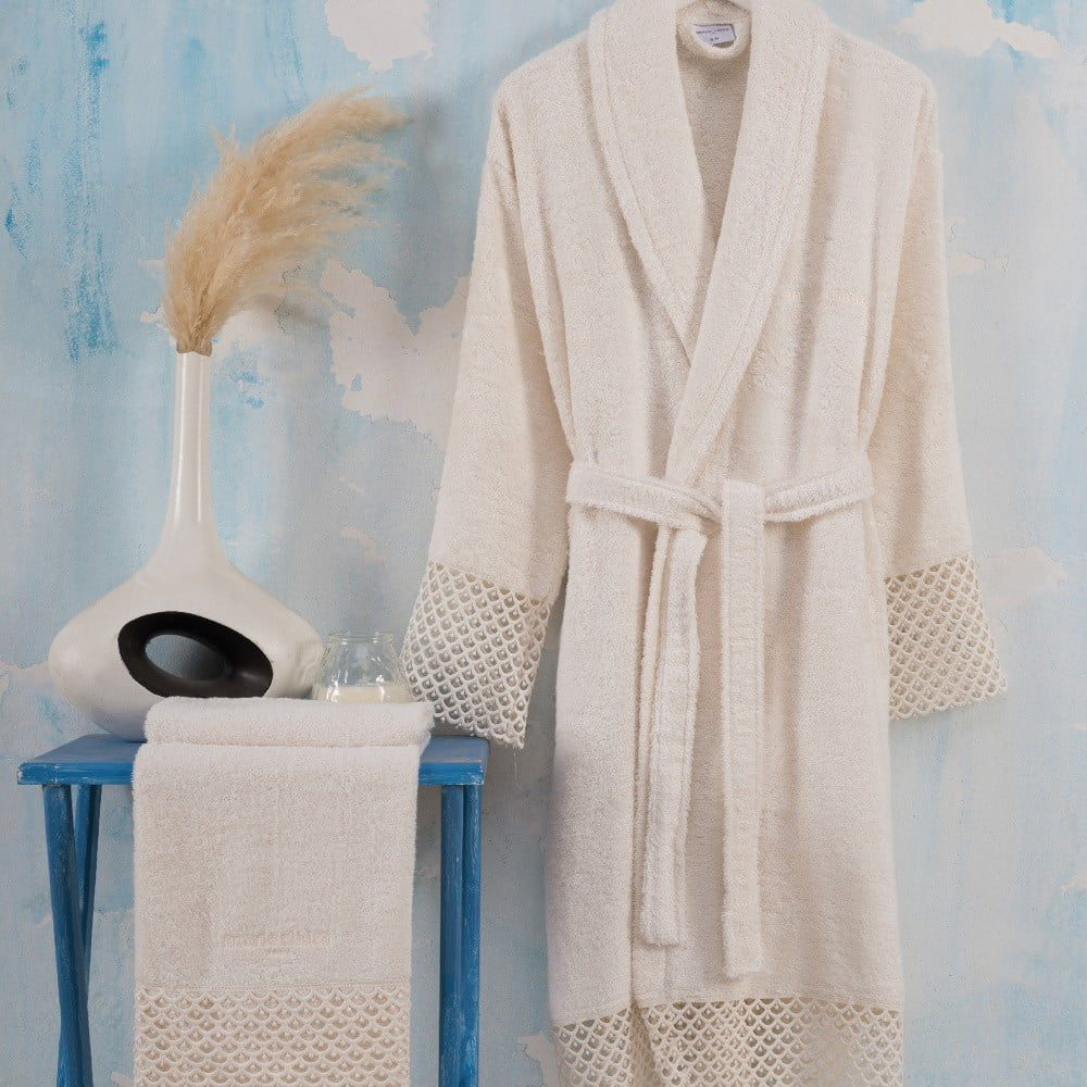 Set světle krémového dámského županu velikosti S/M a ručníku Bathrobe Set Lady
