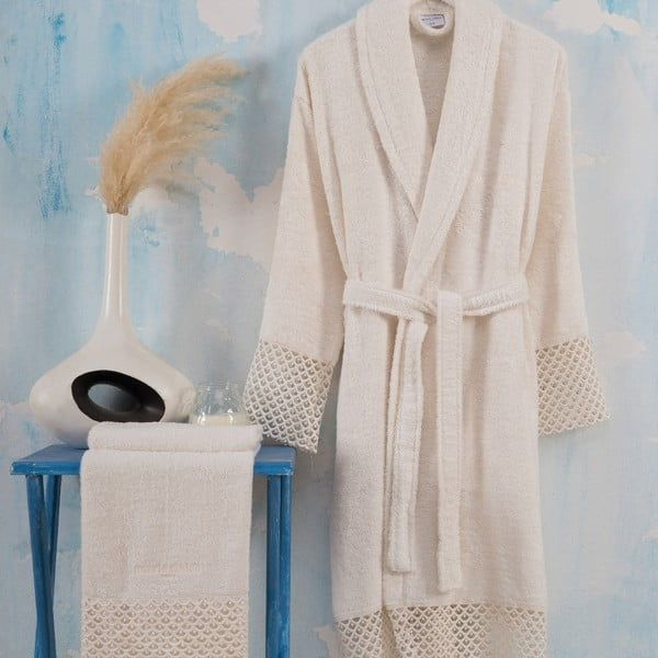 Set halat damă mărimea L/XL și prosop mâini Bathrobe Set Lady, crem deschis