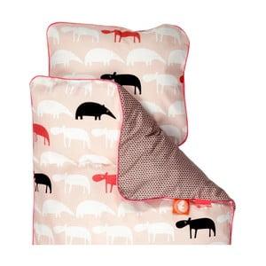 Lenjerie de pat pentru copii Done By Deer Zoopreme, 100 x 130 cm, roz