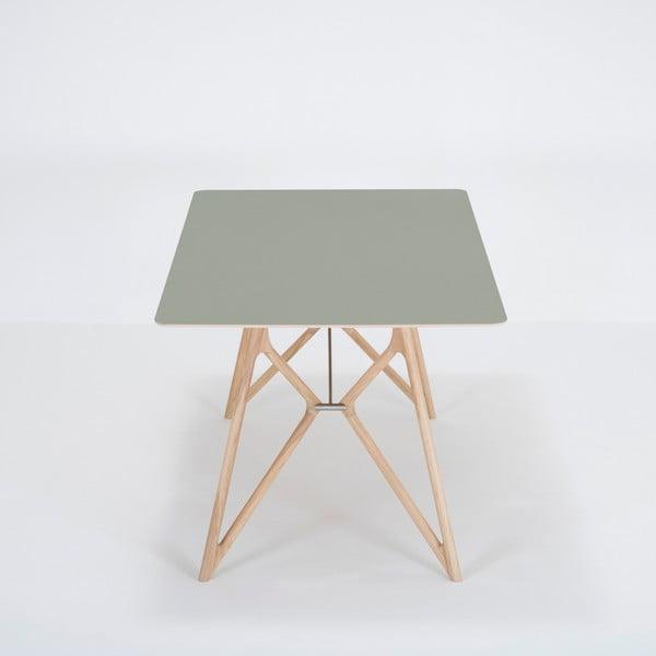 Jídelní stůl z masivního dubového dřeva se zelenou deskou Gazzda Tink, 180x90cm
